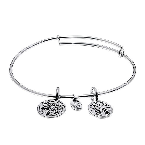 Chrysalis 'World Tree' Expandable Bangle in Rhodium-Plated Brass - White