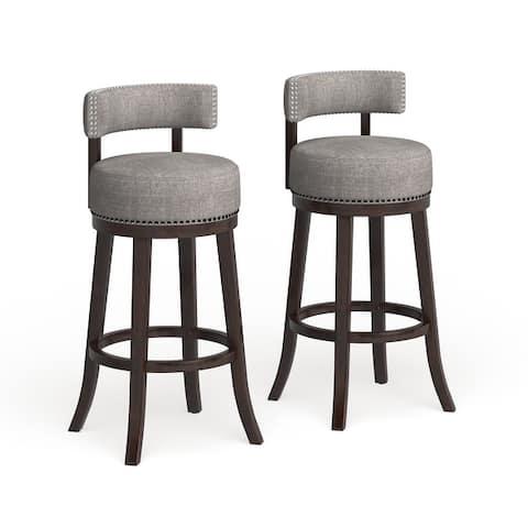 Furniture of America Fendeson Nailhead Swivel Barstool (Set of 2)