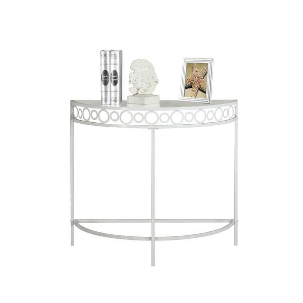 Monarch Specialties I 2122 36 Inch Wide Gl Top Metal Hall Console Table White