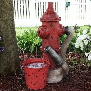 Sunnydaze Fire Hydrant and Hose Outdoor Water Fountain with Bucket - 28-Inch