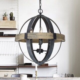 Distressed Antique White 4-Light Wood Orb Chandelier