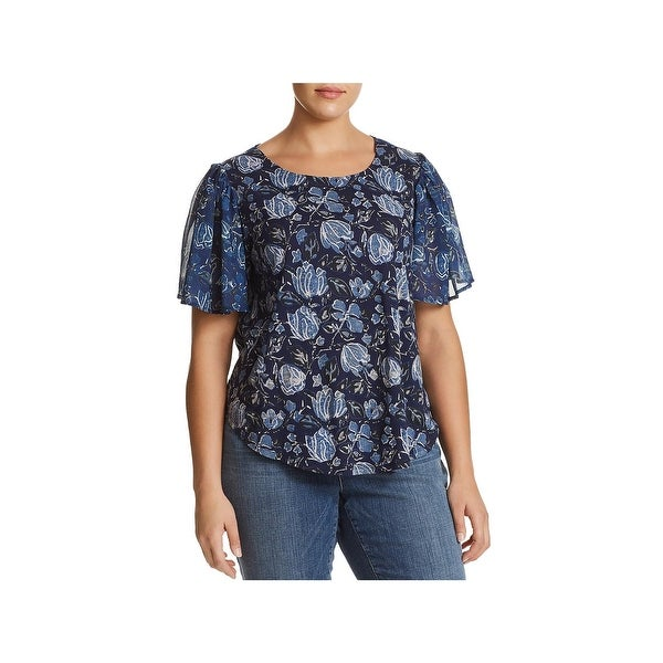 Lucky Brand Womens Plus Pullover Top Sheer Cutout Back
