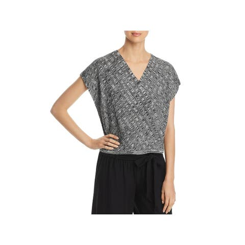 Eileen Fisher Womens Petites Pullover Top Silk Surplice - PS/PP