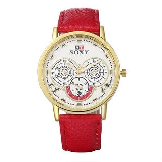 Bahamas Inspired Faux Red Leather Watch - Off White