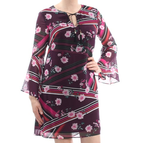 VINCE CAMUTO Womens Purple Tassel Tie Striped Floral Bell Sleeve Above The Knee Shift Wear To Work Dress Size: 10