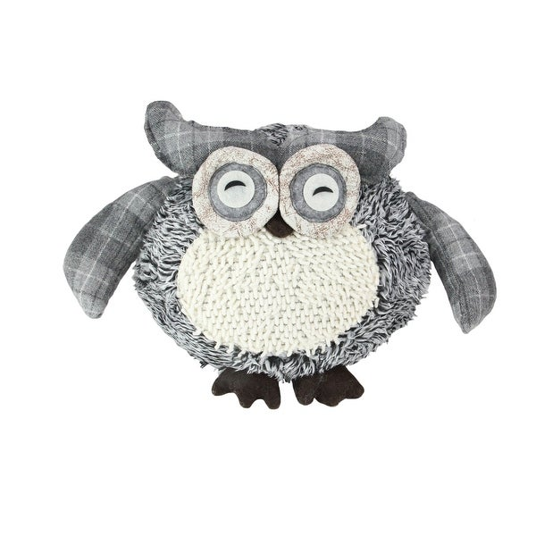 "12"" Charming Gray Plaid Owl w/ Textured Ivory Plush Table Top Christmas Figure"