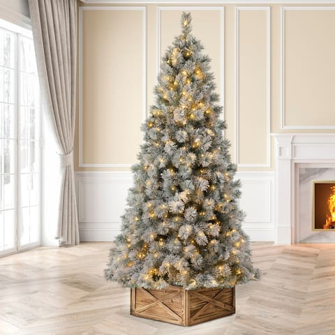 Glizthome Pre-Lit Snow Flocked Artificial Spruce Christmas Tree With Warm White Lights