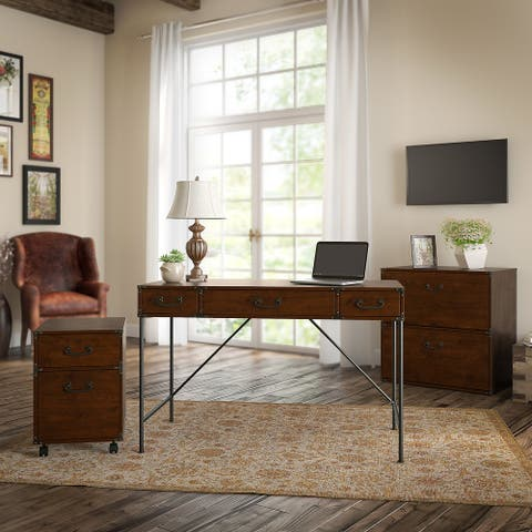 Ironworks Desk and File Set from kathy ireland Home by Bush Furniture