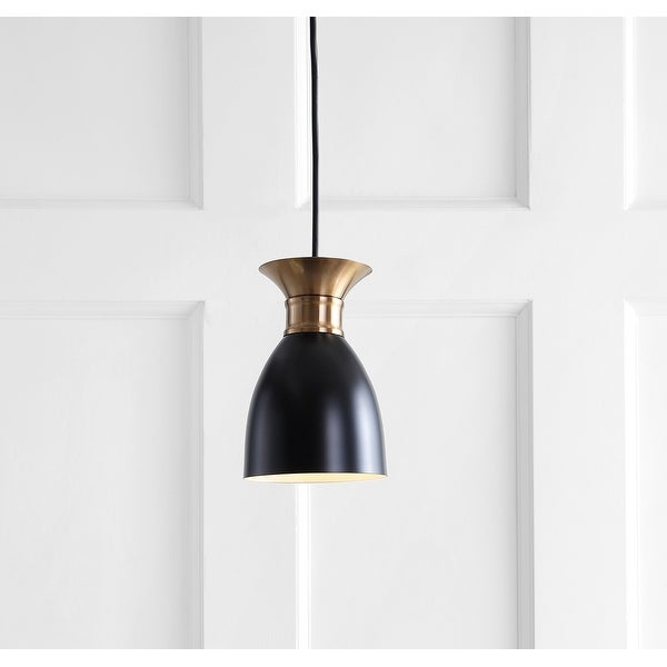 "Edison 5.75"" Metal LED Pendant, Black/Brass Gold by JONATHAN Y. Opens flyout."