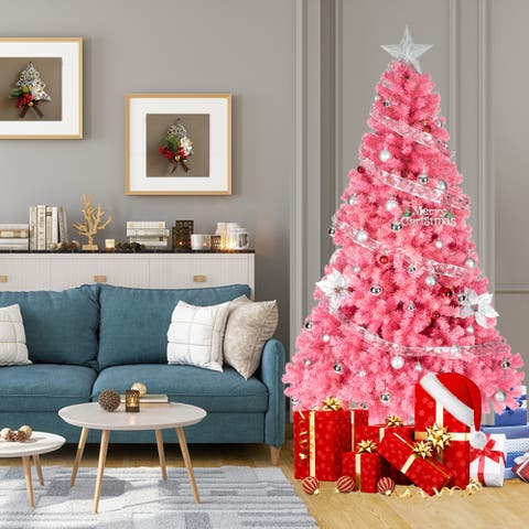 Beautiful 6ft 1600 Branches PVC Artificial Christmas Tree Pink / Black