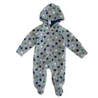 Healthtex Baby Boys Grey Polka Dotted Print Full Body Hooded Bodysuit