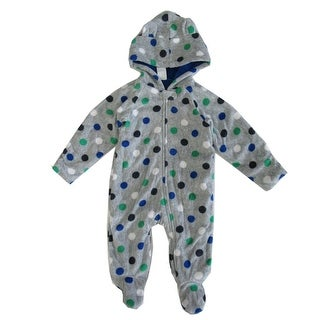 Healthtex Baby Boys Grey Polka Dotted Print Full Body Hooded Bodysuit