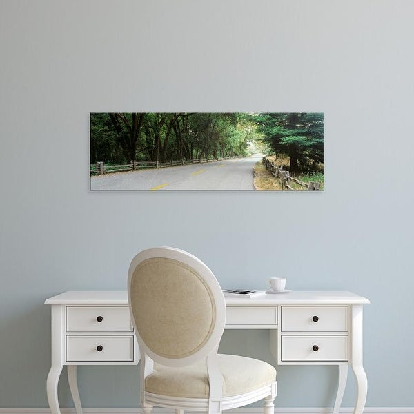 Easy Art Prints Panoramic Image 'Road passing through a forest, Henry Cowell Redwoods Park, California' Canvas Art