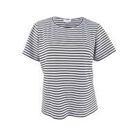 Calvin Klein Women's Plus Size Striped T-Shirt - WHITE/BLACK
