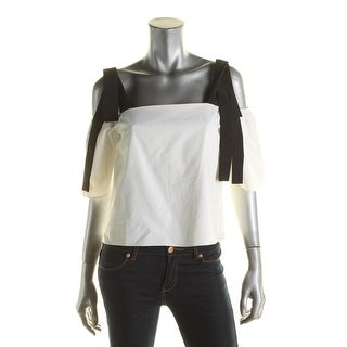 Lucy Paris Womens Crop Top Cold Shoulder Open Sleeves