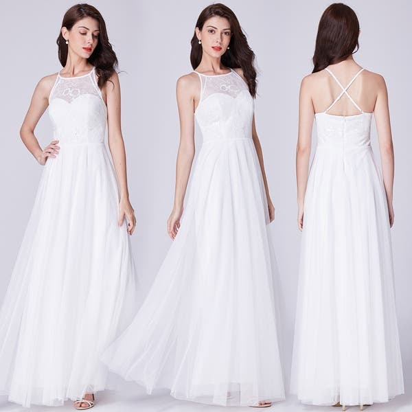 Shop Ever Pretty Women S Halter Neck Lace White Wedding Dress