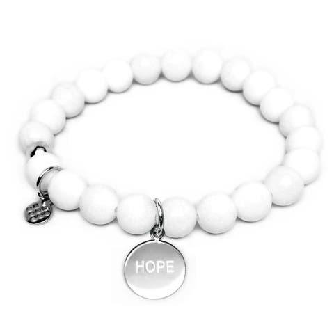 White Jade Beaded Bracelet Sterling Silver Hope Charm