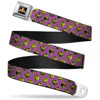Power Rangers Logo Full Color Power Ranger Animal Logos Scattered Purple Seatbelt Belt