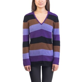 Prada Women's Cashmere Striped V-Neck Sweater Purple - 6