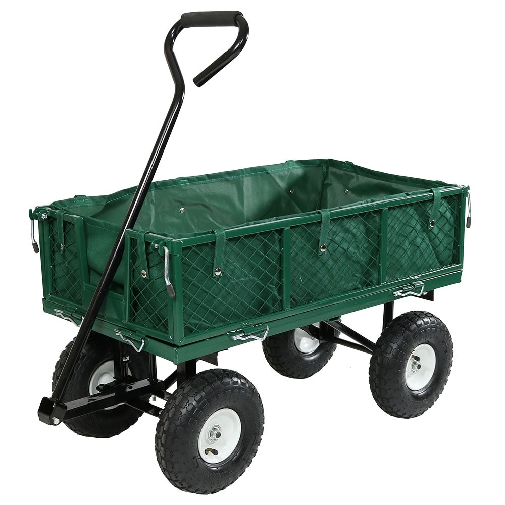 Sunnydaze Utility Cart with Folding Sides and Liner Set - Multiple Colors Available - Thumbnail 18