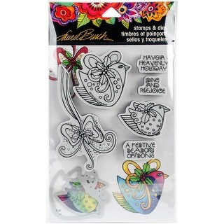 """Stampendous Laurel Burch Cling Stamp & Die Set 9""""X5.25""""-Heavenly Holiday"""