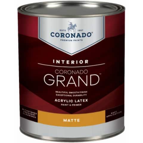 Coronado 701-33-4 Grand Interior Acrylic Latex Paint & Primer, Tint Base, 1 Qt