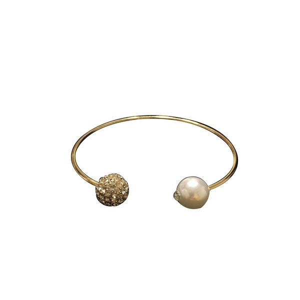 max & MO Open Gold Bangle with Diamond/Pearl Ends