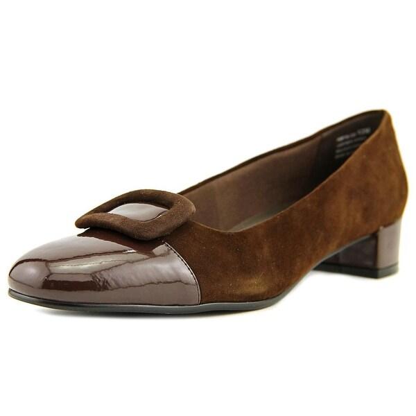 David Tate Retro Women SS Round Toe Suede Brown Heels