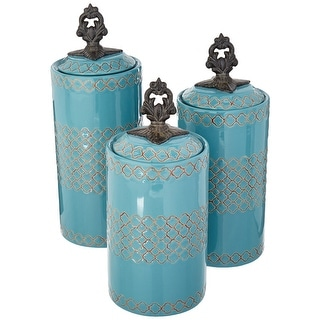American Atelier Set of 3 Earthenware Canisters Kitchen Storage Jars w/ Lid Blue