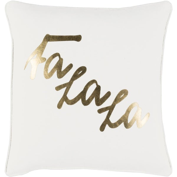 """18"""" Snow White and Rich Gold Decorative Christmas """"Fa La La"""" Holiday Throw Pillow –Down Filler"""