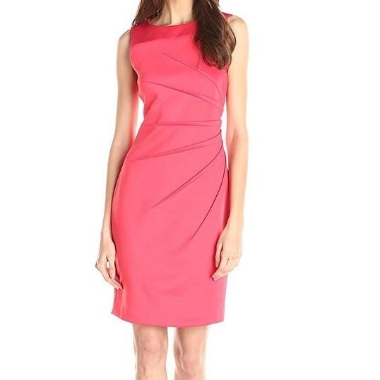Calvin Klein NEW Pink Women's Size 14 Sheath Starburst Seamed Dress