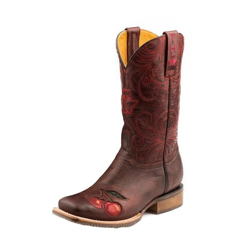 """Tin Haul Western Boots Womens 11"""" Skull Roses Sole"""