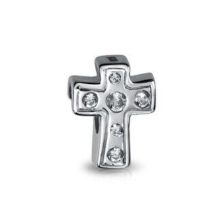 Cross Clear CZ 925 Sterling Silver Inspirational Bead Charm
