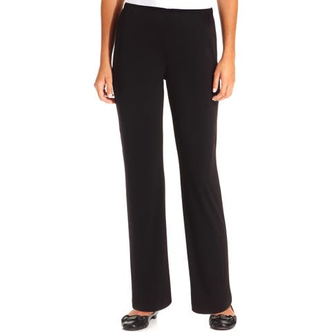 NY Collection Womens Petites Wide Leg Pants Matte Jersey Office Wear