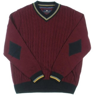 Argyle Culture Mens Varsity Cable Knit Pullover Sweater