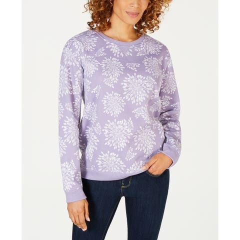 Karen Scott Women's Floral-Print Sweatshirt Lilac Size Medium