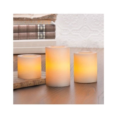 Inglow CG25661CR3R Flameless Pillar Candle Set With Remote Control, Cream - cream