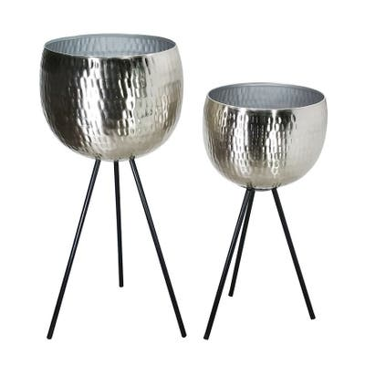 """S/2 Iron 26""""/22"""" Hammered Bowlplanters, Silver"""