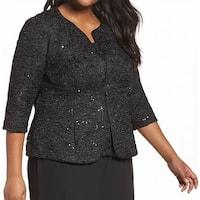 Alex Evenings Black Womens Size 1X Plus Shimmer Jacket Twinset
