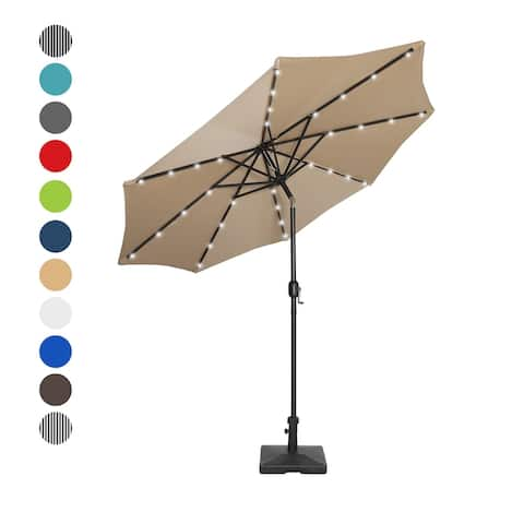 9 Ft. Solar Power Lighted Patio Umbrella with Concrete Base