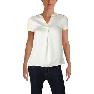 Calvin Klein Womens Petites Pullover Top Satin Short Sleeves