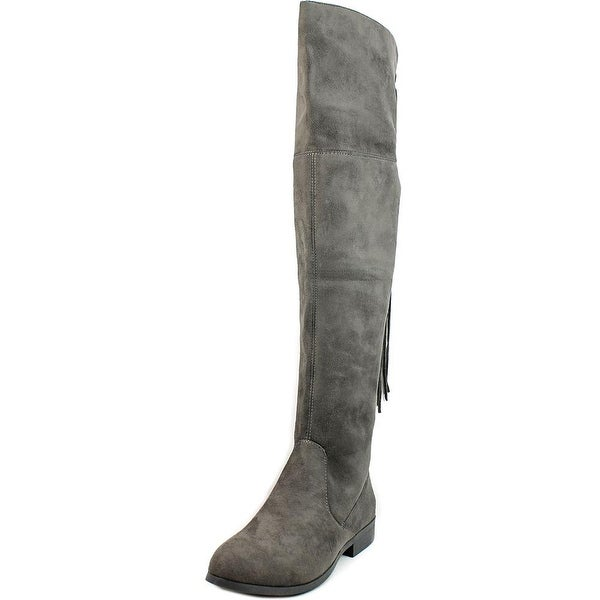 LFL Rascal Women  Round Toe Suede Gray Over the Knee Boot
