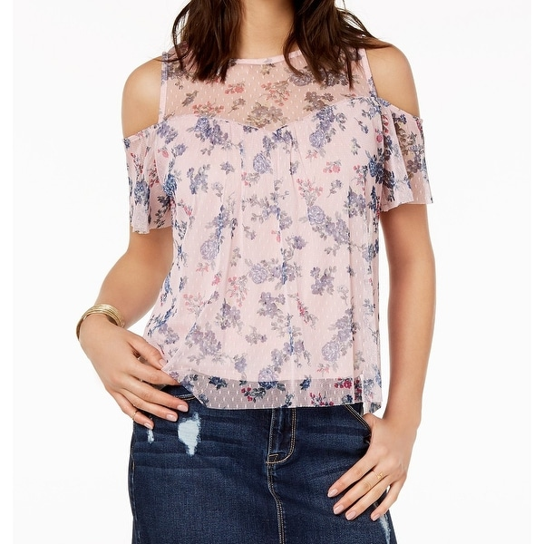BCX Pink Womens Size Medium M Cold Shoulder Floral Mesh Blouse