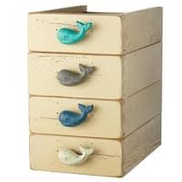 "Set of 12 Aqua Green and Blue Whale Shaped Decorative Table Knob 3"""
