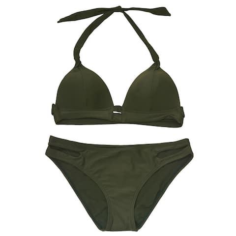 Gossip Women's Hunter Green Solid Halter Tie Top 2 Pc Bikini Swimsuit
