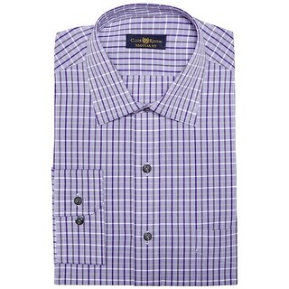 Club Room Regular Fit Check Dress Shirt Crushed Grape Purple 15 32/33