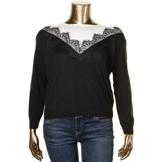 Vince Camuto Womens Pullover Sweater Colorblock Lace Trim