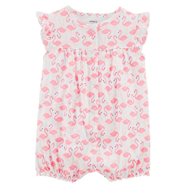 2bed3c555 Shop Carter s Baby Girls  Flamingo Snap-Up Cotton Romper - Free ...