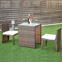 Costway 3 PCS Cushioned Outdoor Wicker Patio Set Seat Brown Garden Lawn Sofa Furniture