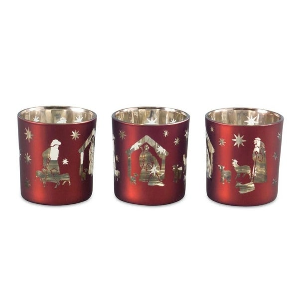 Pack of 6 Decorative Glass Red and Gold Nativity Votive Holder in PVC box